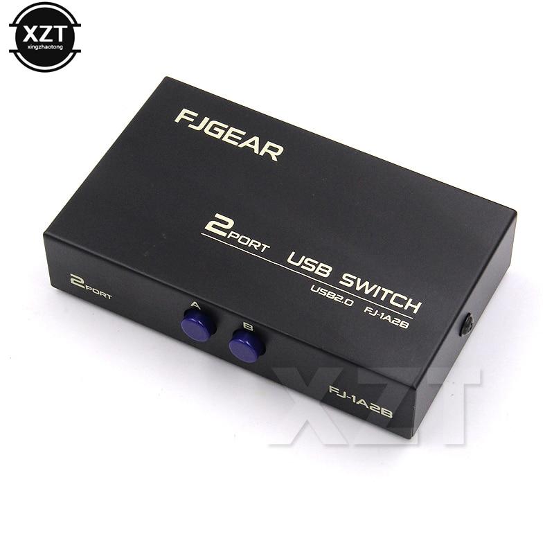 1 шт. беспроводной USB 2,0 совместный переключатель 2 порта адаптер Коробка для ПК Сканер Принтер высокая скорость черный