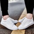 Nuevos Hombres Al Aire Libre parejas Planos Ocasionales zapatos Para Caminar de Cuero zapatos de Moda zapatos de mujer chaussure homme superstar Blanco tamaño 35-44