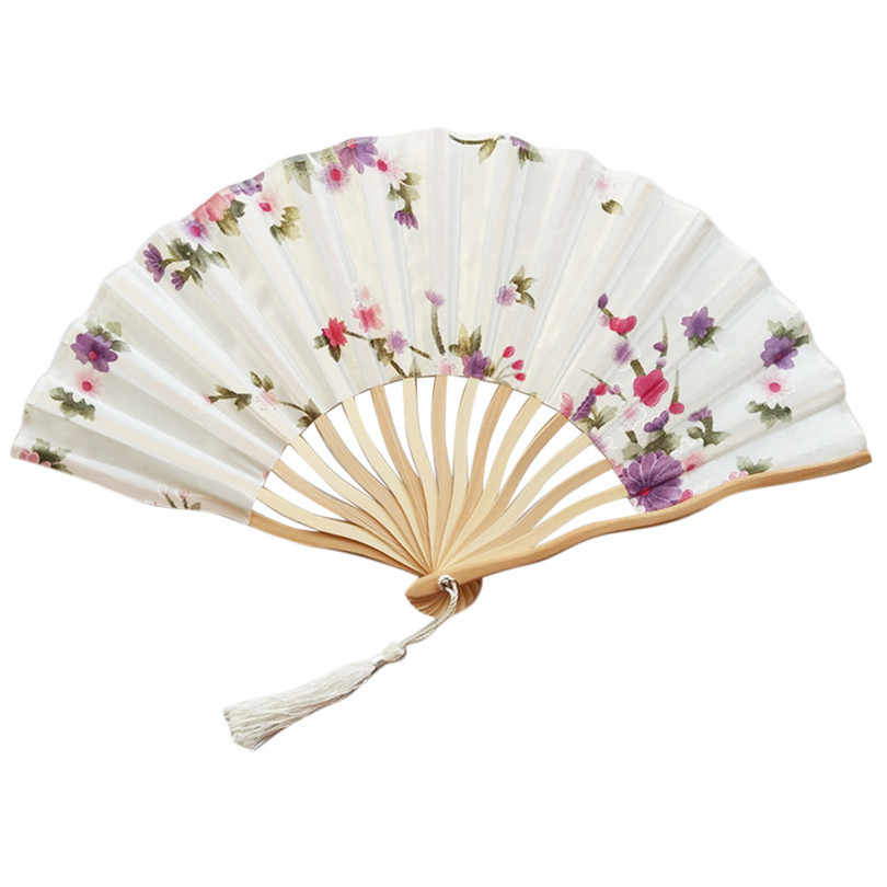Hand Held Fans Silk Bamboo Fashion Chinese Japanese Folding Fans Handheld Folded Fan for Church Summer Art Craft Wedding Gift20