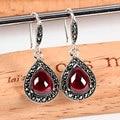 Vintage 925-sterling-silver red carbunde garnet dangle earrings for women ruby-jewelry pendientes