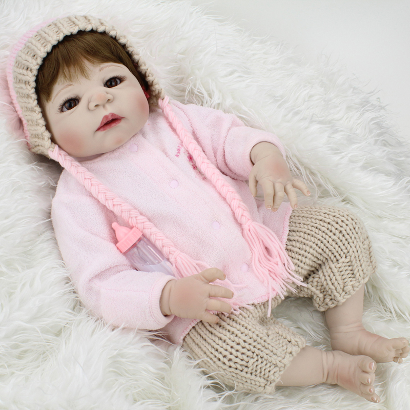 22 Inch Silicone Reborn Baby Dolls Kids Toys for Girls Collectible Soft Vinyl Doll Baby Alive Doll for New Year Christmas Gifts little cute flocking doll toys kawaii mini cats decoration toys for girls little exquisite dolls best christmas gifts for girls