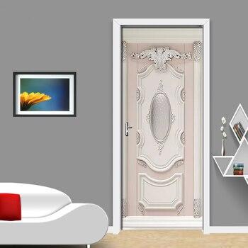 3d En Relieve Yeso Tallado PVC Autoadhesivo Desmontable Puerta Pegatina Mural Papel Pintado Adhesivo Sala De Estar Dormitorio Puerta Decoración Cartel