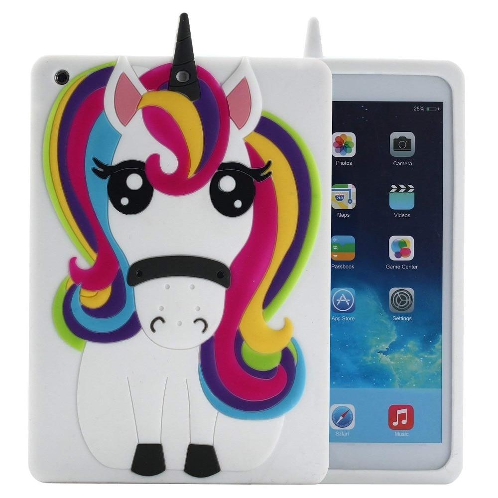 Unicorn Case For IPad Mini 1 2 3 3D Cute Lovely Smart Rainbow Horse Cartoon Soft TPU Cover For IPad 2 3 4 5 6 Protective Cover