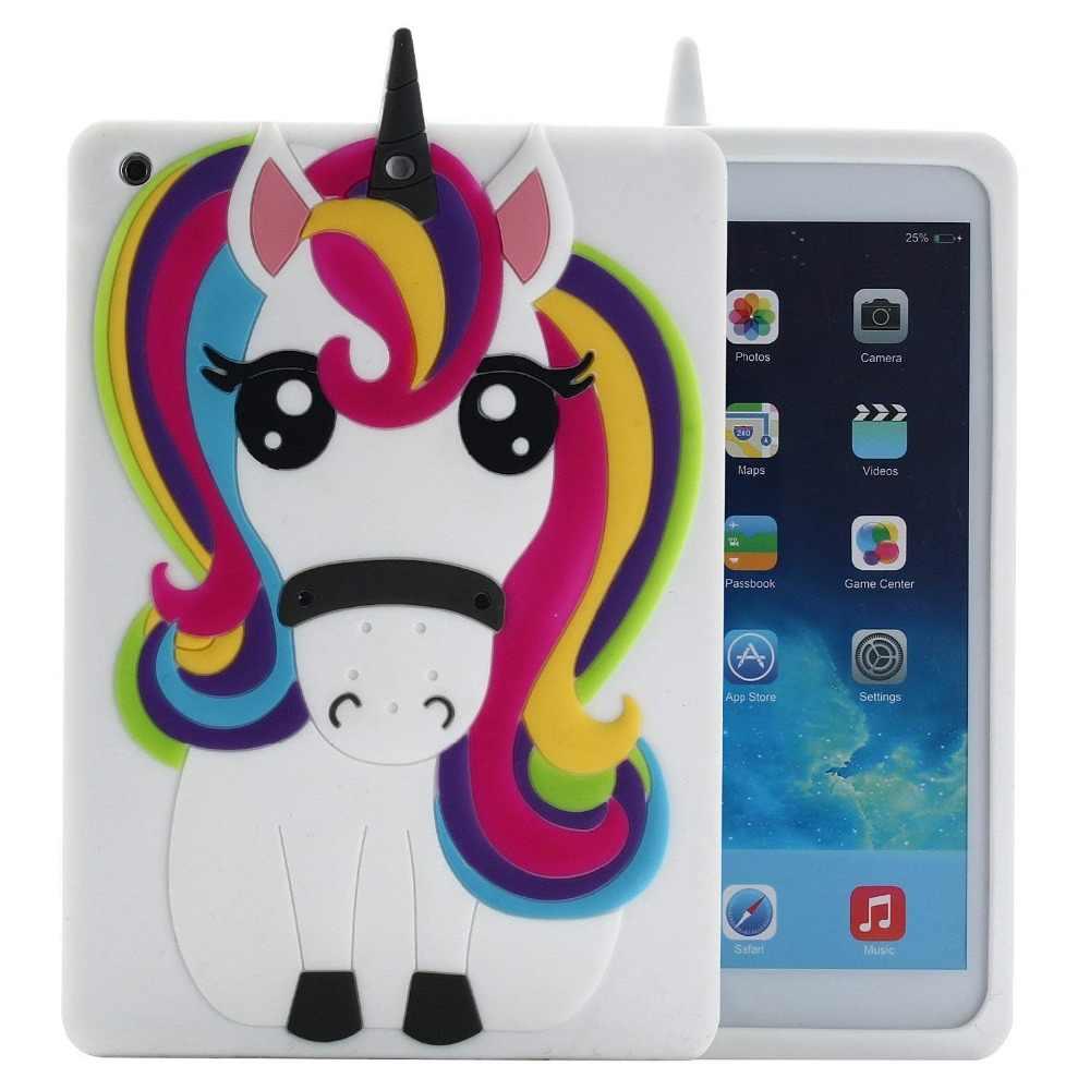 Единорог чехол для iPad Mini 1 2 3 3D милые Smart Радуга лошадь мультфильм Мягкие TPU чехол для iPad 2/3/4 5 6 защитная крышка