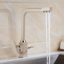 100% латунь кухонный кран белый двойной ручкой питьевой фильтр для воды, Кухонная мойка кран Три потока Кран Бронзовый Смеситель для кухни кран