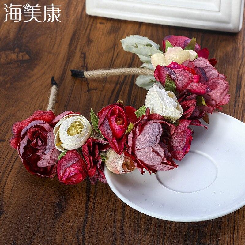 Haimeikang צבעוני פרח סרט בד נסיכת כובעים בנות הכלה בגימור נשים חוף חתונת שיער אבזרים