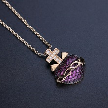 Heart shape pendant necklace full CZ cross pendant chokers chain necklace for women gift NWX001382