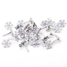 50 шт., белые металлические шипы Sonwflake, шипы для скрапбукинга, украшения, застежка, рукоделие, штифт, украшение 12x14 мм