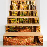 Creative Fall Forest Decorative Wall Stickers Fashion 3D Stair Stickers Tile Decals for Living Room Bedroom Removable FS021