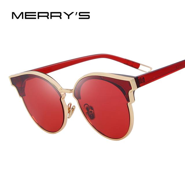 Merry's mulheres cat eye óculos de sol clássico marca designer óculos de sol sem aro semi s'8082