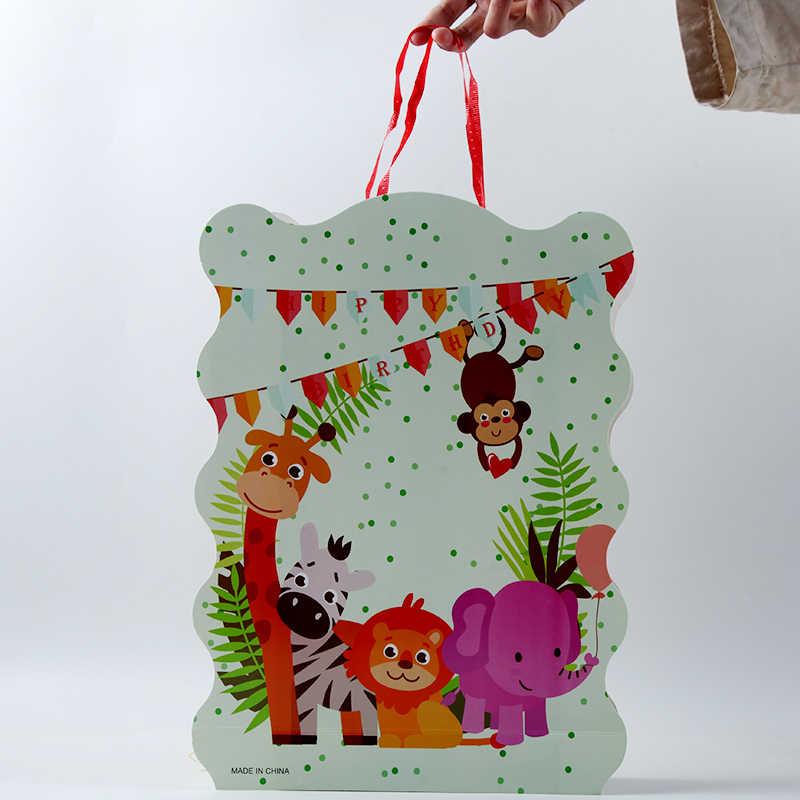 1 шт. 40*29 см с изображением животных из джунглей тема, детский душ вечерние украшения для бумажная Складная пиньята украшения на день рождения