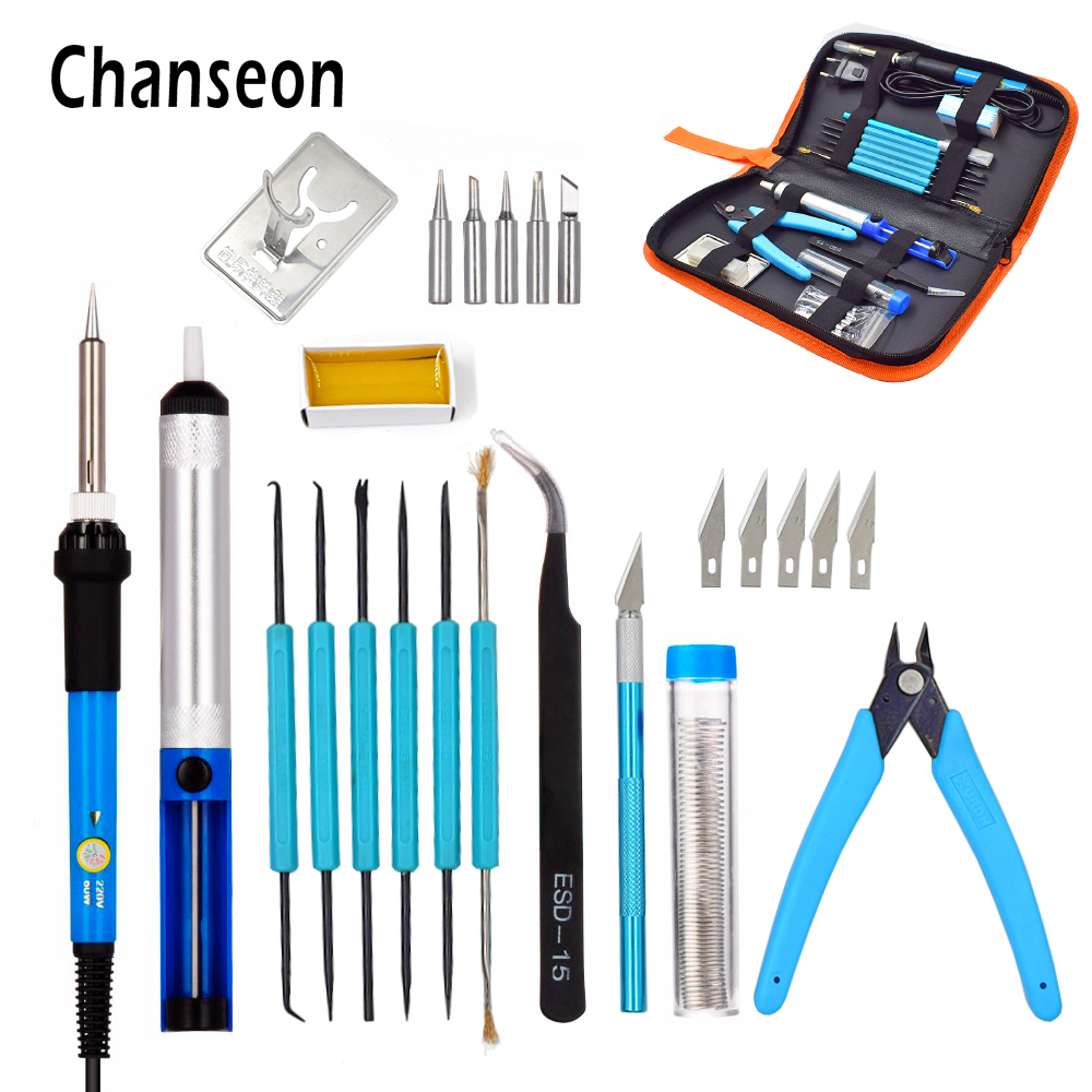 EU/US Plug 220V/110V 60W Adjustable Temperature Electric Soldering Iron Kit+5pcs Tips Welding Repair Tool Tweezers Hobby knife