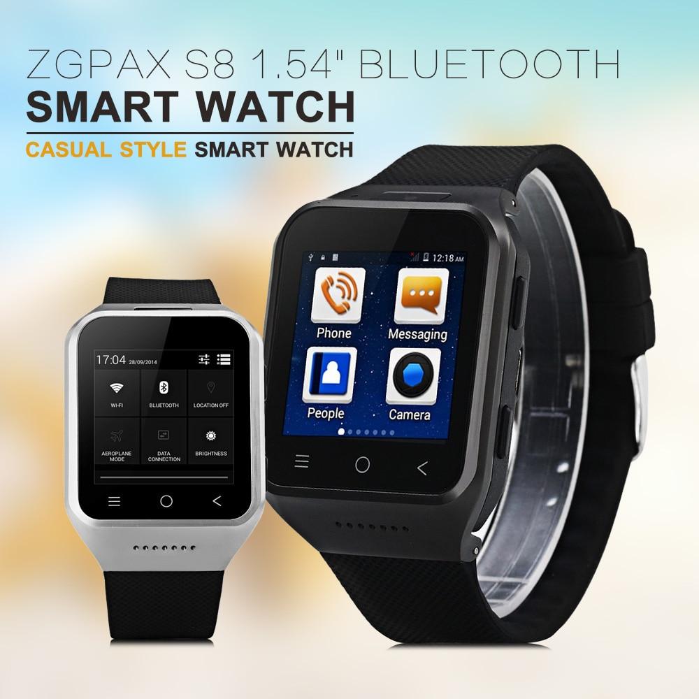 "imágenes para Bluetooth Reloj Teléfono Inteligente GPS Android Smartwatch ZGPAX S8 1.54 ""MTK6572 Dual Core de $ number MP Cam SIM 3G WiFi 512 MB 4 GB Reloj"