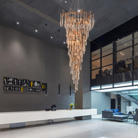 Modern Brass Chandelier Lighting LED Chandeliers Glass Drop Chandelier Lamp Copper Pendant Hanging Light Stair Chandeliers Light