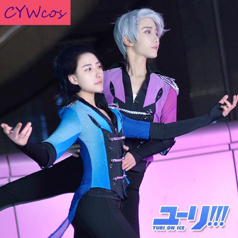 YURI!!! on ICE Pairs Skating Yuri Katsuki and Victor Nikiforov Cosplay Costume Uniforms Sportswear Suits Costumes Top+Pants