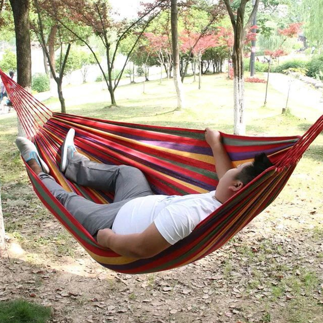 Outdoor hammock bed with cover - 280 150cm Portable Outdoor Hammock Leisure Traveling Camping Striped Canvas Hammock High Quality Garden Swing