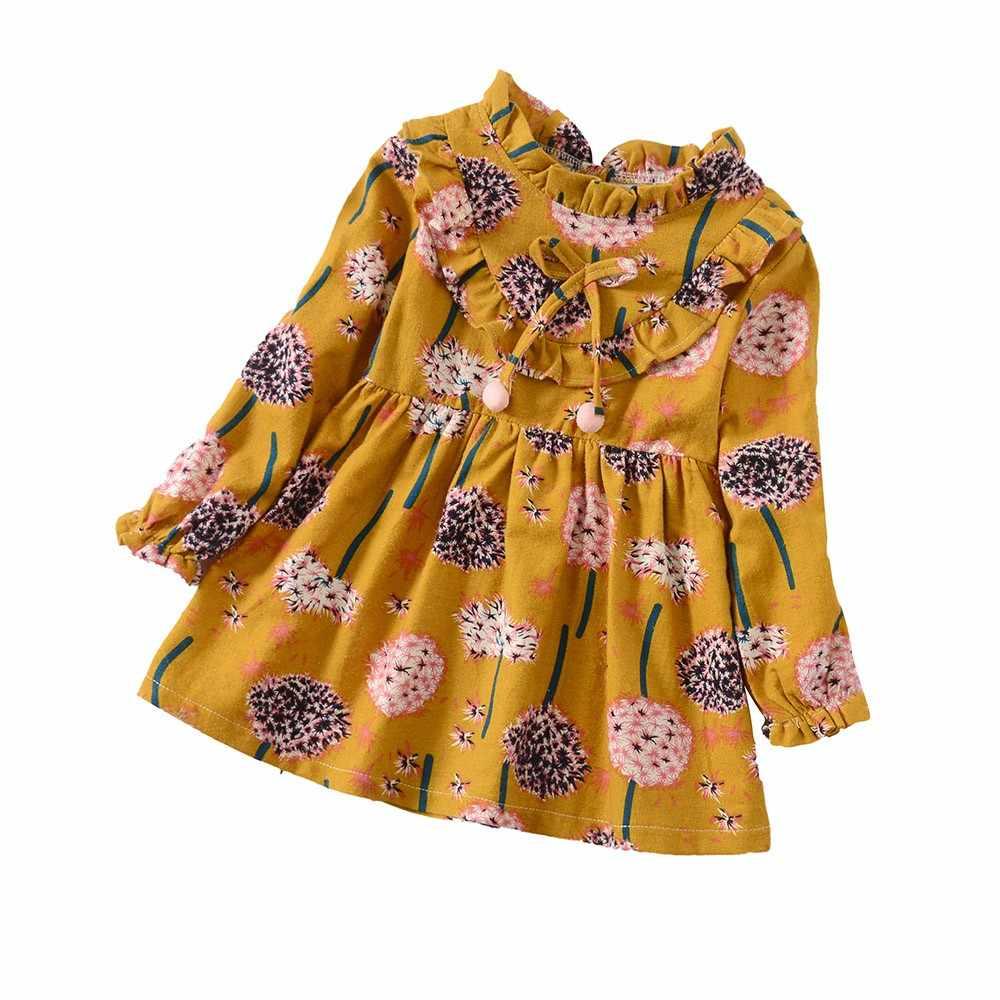 Bebê da criança meninas de manga longa floral flor meninas vestido manga comprida vestido estampado roupas jan4
