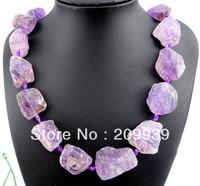huij 003057 Raw Titanium Crystal Amethyst Druzy Quartz Necklace Jewellery