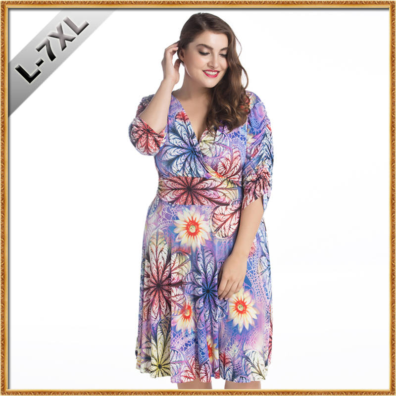 31c4a7d91af8 ... Sexy V Cou Plissé Manches Demi Plus taille 7XL Floral Midi Robe Casual  Club Beach Party Robe Robe femme. Click here to Buy Now!! 2018 Femmes D