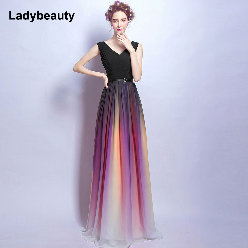 Ladybeauty Gradient V-Neck Long Evening Dress 2018 Hot Sale Lace-Up ...