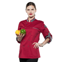 New Gray collar Long Sleeve Double breasted Chef Jacket Restaurant Hotel Men/Women Work Clothes Food Services Cooking Coat