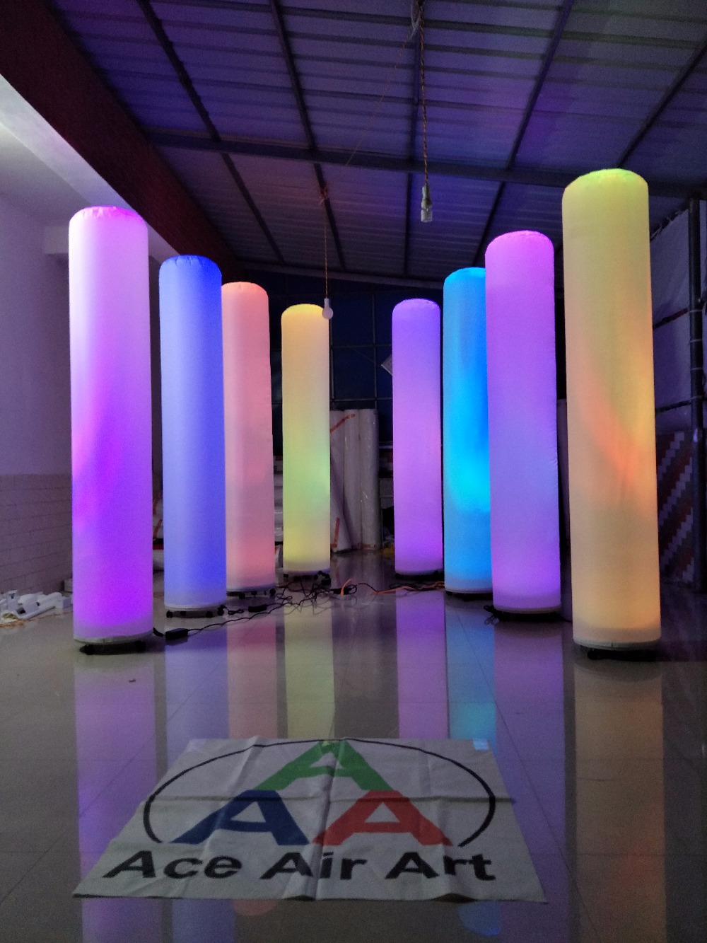 4 pcs Led lights decoration standing inflatable Column glowing pillars for Wedding event party stage and Night club bar columns for weddings decorations column wedding column decor - title=