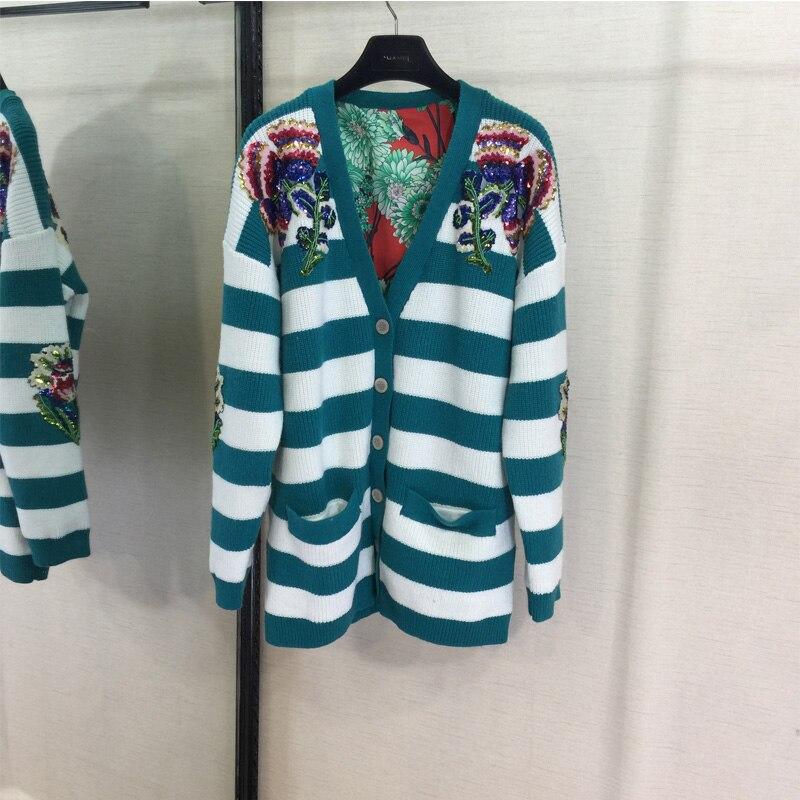 Вышитый бисером полосатый аппликация шерстяной кардиган высокого класса на заказ Мода новый длинный рукав Повседневный свитер пальто женщ