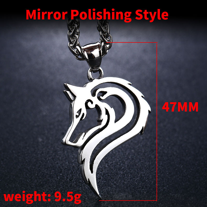 Beier 316L stainless steel dropshipping hot sell viking wolf men necklace celt wolf head pendant Fashion Jewelry LP302 in Pendant Necklaces from Jewelry Accessories