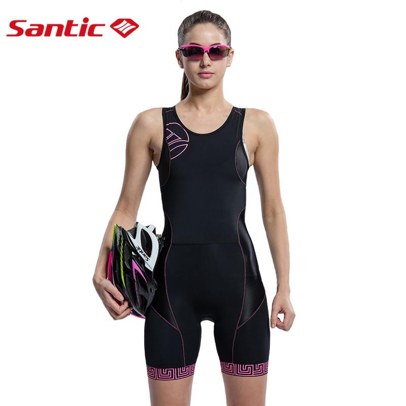 SANTIC Femmes Vélo Cuissard Sans Manches À Séchage Rapide Respirable Sports de Plein Air Vêtements Vélo Élastique Vélo Skinsuit L5C03008H