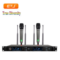 True Diversity 2 Handheld Microphone Profession UHF Wireless Microphone Mic System LCD Display Receiver For Stage Speech Karaoke