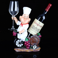 031512 Resin wine rack creative fashion contemporary household Pointy hat chef takes glasses