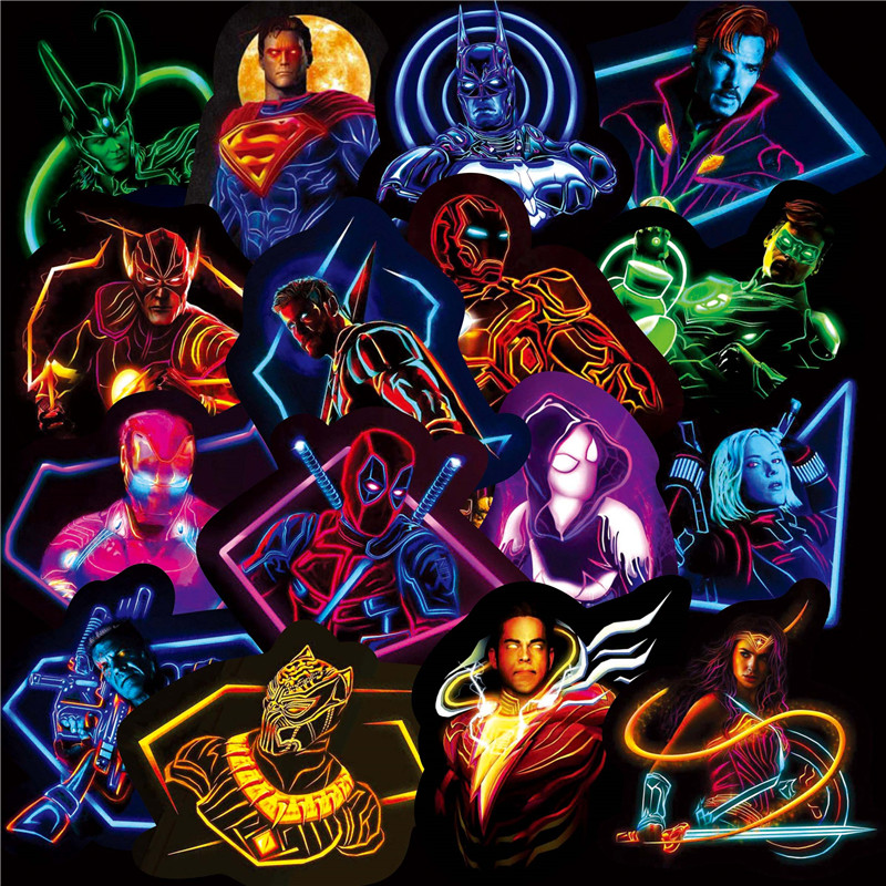 30PCS Marvel The Avengers Neon Sticker Superhero Cartoon Anime For Laptop Fridge Phone Guitar Super Hero Stickers pack