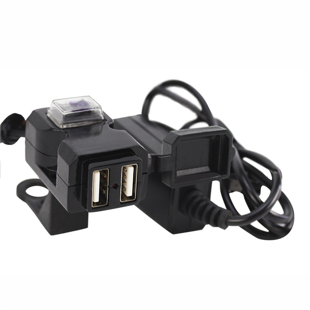 12V-24V Universal Waterproof Motorcycle USB Charger Socket Splitter 5V 1A/2.1A Adapter Dual USB Moto Motorbike Phone Usb Charger
