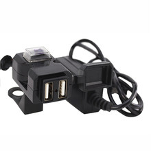 12V-24V Universal Waterproof Motorcycle USB Charger Socket Splitter 5V 1A/2.1A Adapter Dual USB Moto Motorbike Phone Usb Charger(China)