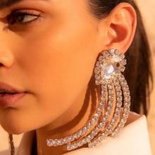 Trendy Shiny Rhinestone Crystal Geometric big Earrings For Women Statement stud earring Fashion Jewelry