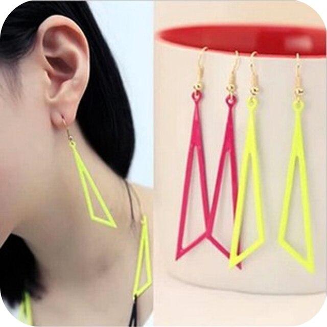 Fashion geometry  shaped cutout neon color drop earring big earrings female free shipping