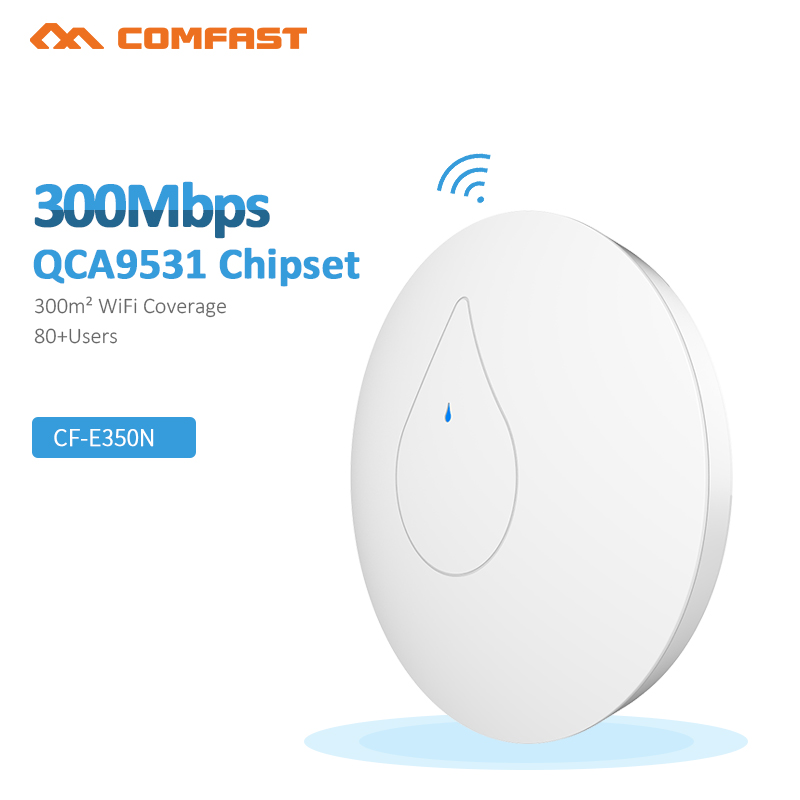 все цены на COMFAST Powerful indoor wireless router 300M Ceiling AP openwrt WiFi Access Point AP 6dbi antenna 48vpoe wi fi signal amplifier онлайн