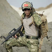Ropa de caza para hombre, uniforme de combate de EE. UU., traje militar de camuflaje arrugado, Conjunto de Combate de rana de camuflaje táctico del ejército multicámara