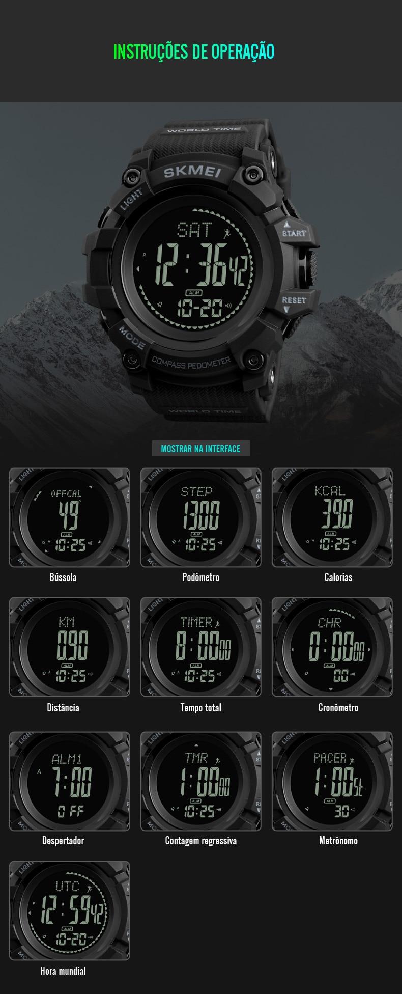 Militar Bússola Pedômetro Calorias Digitais Homens Relógio