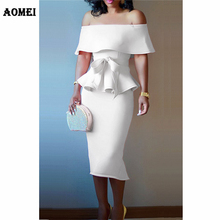 AOMEI Two Piece Suits Women Peplum Tops Off Shoulder with Sashes Bodycaon Female
