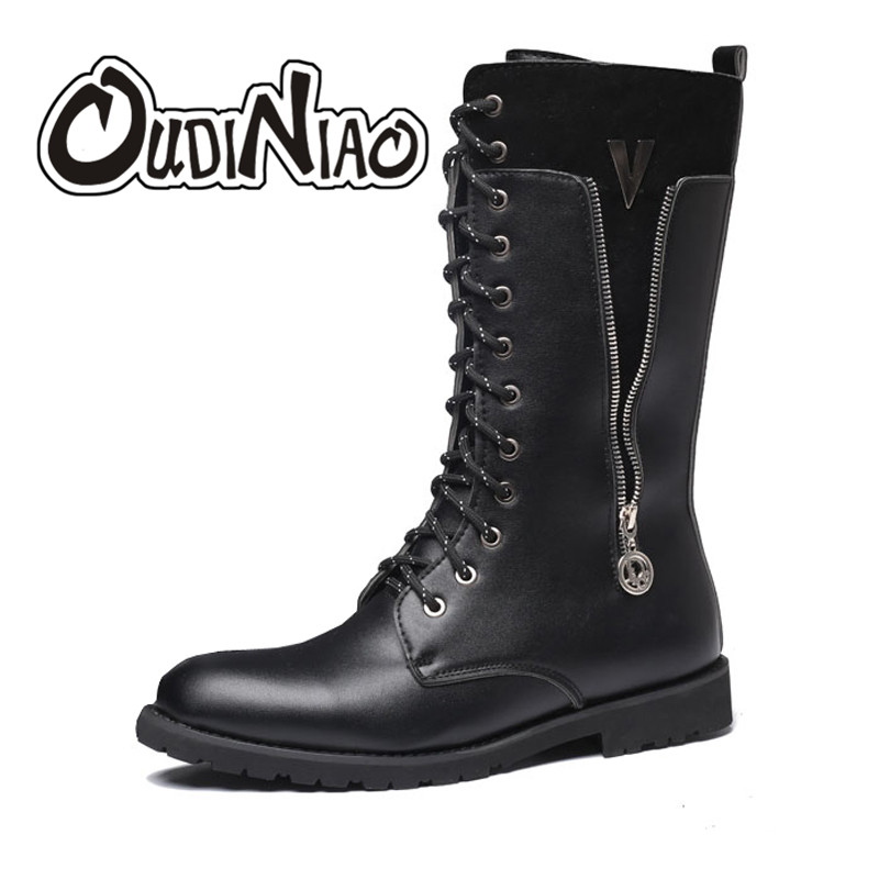 OUDINIAO Army Boots Men Military Combat Metal Lace Up Buckle Male Motorcycle Punk Boots Zipper Fashion