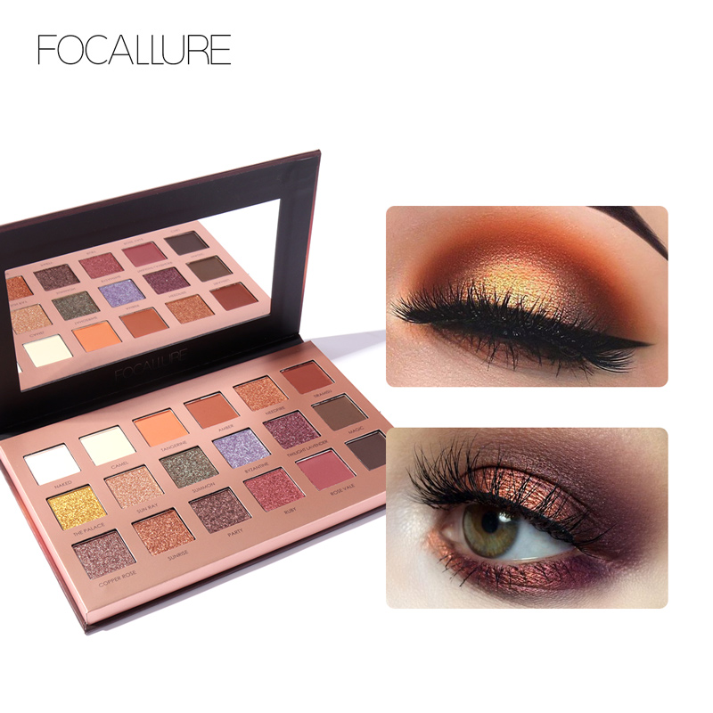 Radient Focallure 18pcs Shades Eyeshadow Highlighter Glitter And Matte Smoky Eyeshadow Professional Makeup Shadow+blush Beautiful In Colour Beauty Essentials