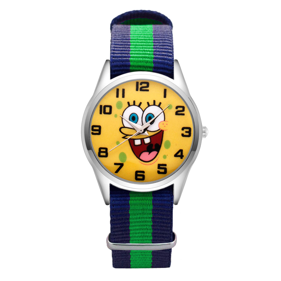 Fashion Cartoon Cute SpongeBob style Watches Women's Girls Students Boy's Children Nylon Strap Quartz Wrist Watch Clcok JC02