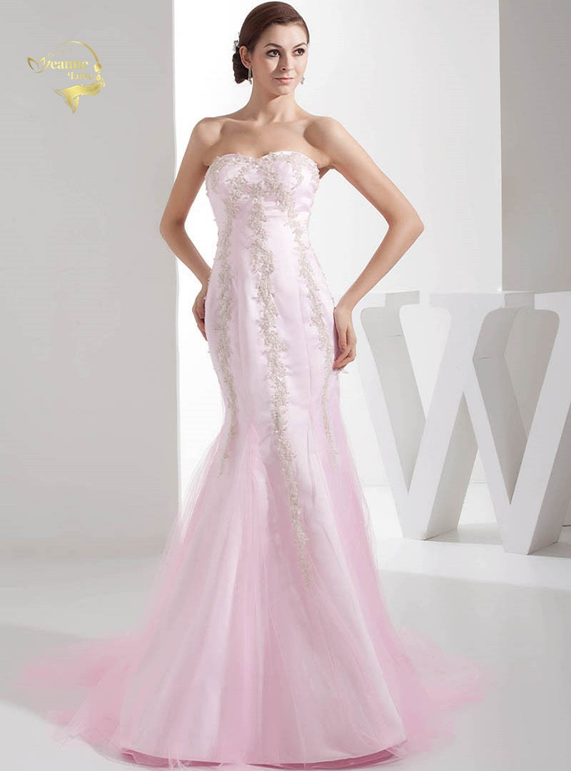 Pink Strapless Mermaid   Evening     Dresses   Court Train Tulle Lace Appliques Beaded Womens Formal Party Gowns On Sale Free Shipping