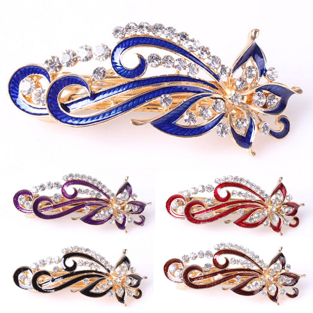 1PC Fashion Barrettes Vintage Women Shinning Crystal Rhinestones Flowers Hairpin Hair Clip Accessories Jewelry haibangrui brand genuine in ear earphone with mic
