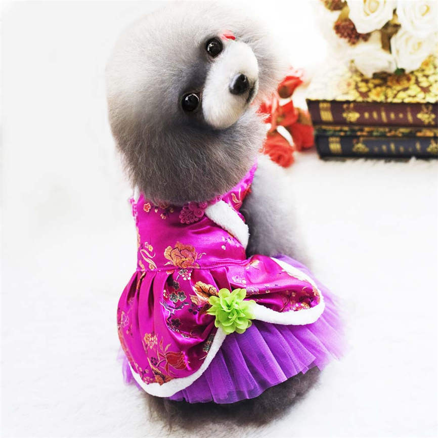 Dog Dress Tang Suit Small Pet Cat Clothes Puppy Winter Apparels S~XXL Dropshipping &109