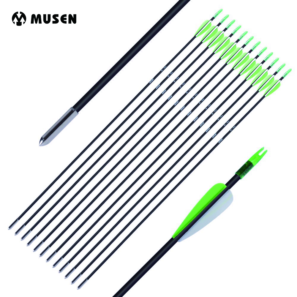 12/24pcs 30 Spine 700 Fiberglass Arrow with 2 Green 1 White Plastic Feather for Recurve Bow Archery Shooting Hunting green arrow vol 2 island of scars rebirth