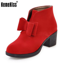 KemeKiss 6 Colors Size 34-40 Sexy Lady High Heel Boots Round Toe Bowtie Warm High Heels Boot Fashion Female Footwear Botas Mujer