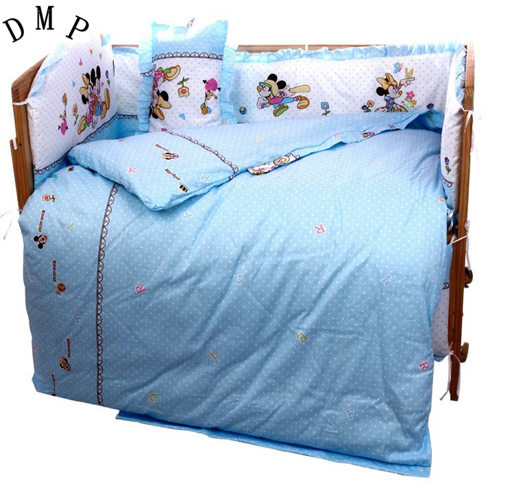 Promotion! 7pcs Cartoon With Filler Baby crib bedding set 100% cotton baby bedding set (4bumper+duvet+matress+pillow)