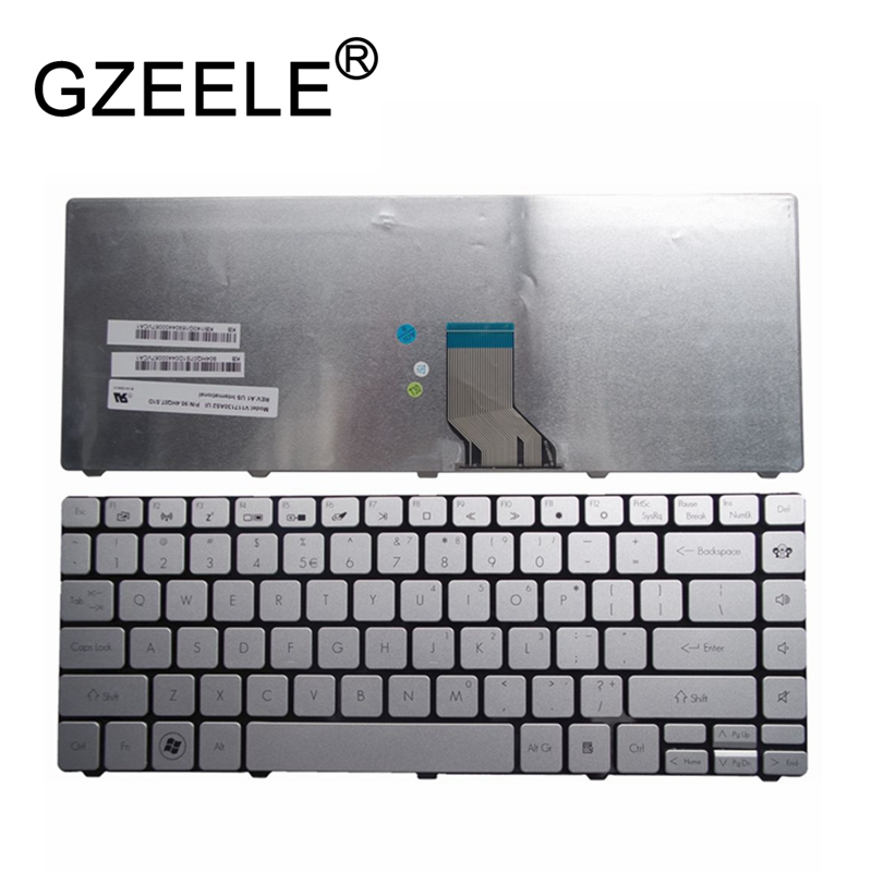 GZEELE New For Acer TravelMate 8481 8481G 8481T 8481TG ID49C EC39C ID43A NSK-AVKPV 9Z.N4TPV.K1D EC39C05u US Silver Keyboard